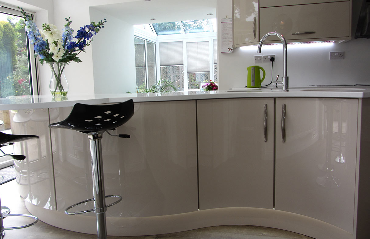 Modern Gloss Kitchen with Curved Island